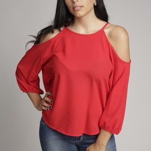 Tops - Cold Shoulder Woven Blouse